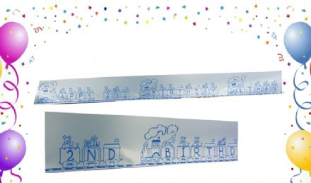 PERSONALISED RIBBON BANNER TRAIN WITH TOYS ideal for boys